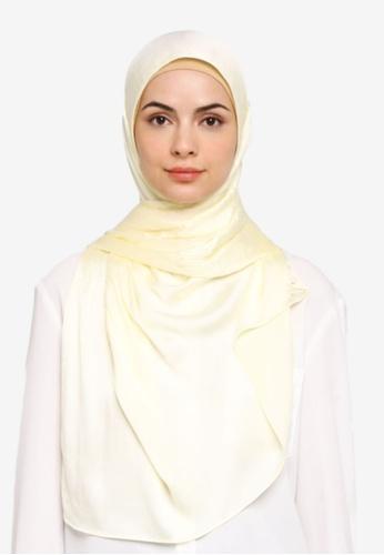 VERCATO yellow Pallure Premium Pleated Allure Satin Shawl 4BA7FAA2886D51GS_1