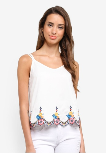 ZALORA white Sleeveless Cami Top With Embroidered Hem 9E367AA1FAC8CEGS_1