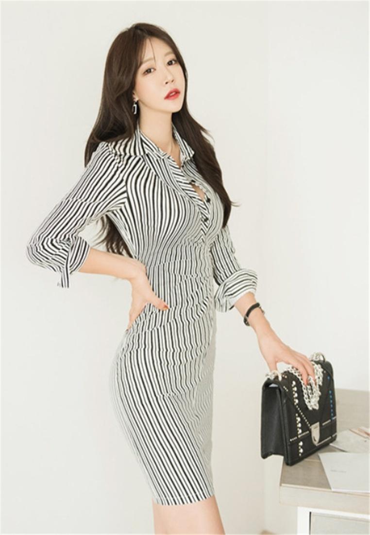 Stripes Fashion BLACK Dress Waist Crystal Temperament Korea aq7OOZ