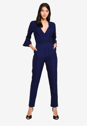 Little Mistress navy Trim Jumpsuit 3321EAA7F19F90GS_1