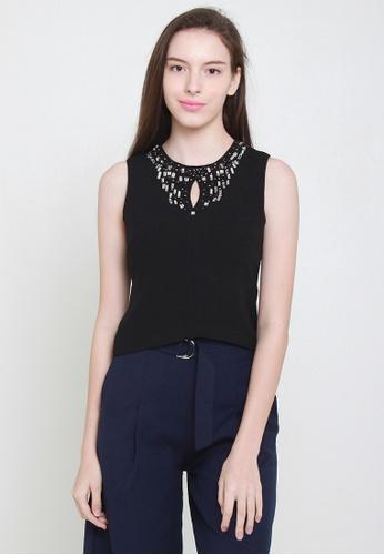 Leline Style black Gems Crop Top LE802AA87HGYSG_1