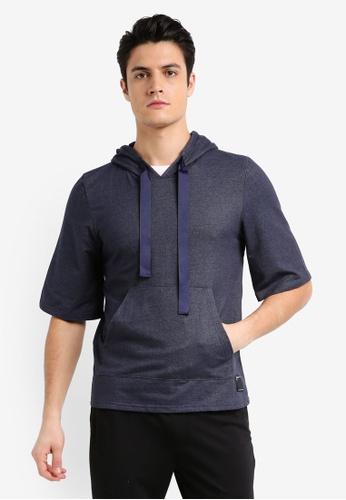 UniqTee 灰色 緞帶抽繩短袖帽T 80F5AAA216B4B8GS_1