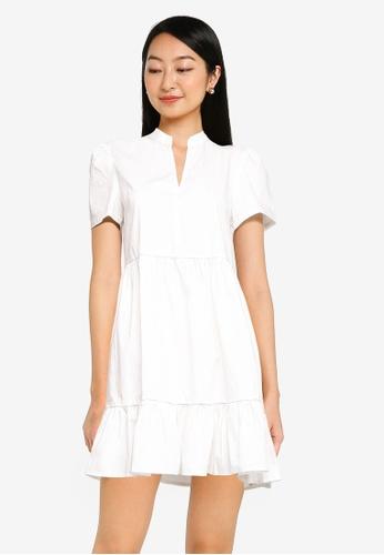 ZALORA BASICS white Tiered Mini Dress 5181FAA0509B65GS_1
