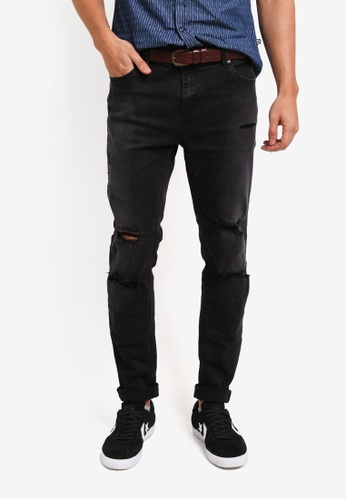 Penshoppe black Distressed Mid Rise Skinny Fit Jeans 073EFAAD9467A3GS_1