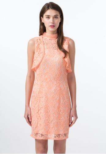 Les Premieres orange Victorian Lace Bodycon Dress 601B1AA5A9E116GS_1