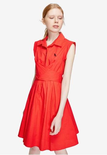 Hopeshow red Ribbon Back Flare Shirt Dress 55FADAAE2EF88AGS_1