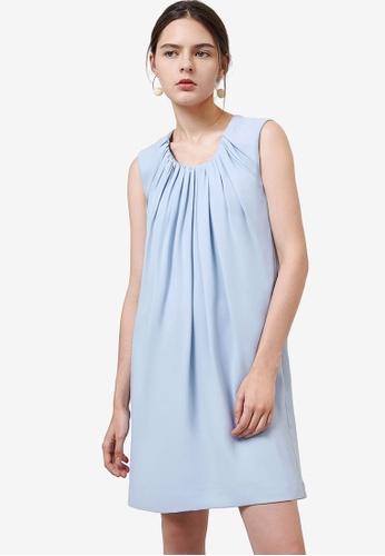 Saturday Club 藍色 無袖Gathered 洋裝 45B2EAAE63500AGS_1