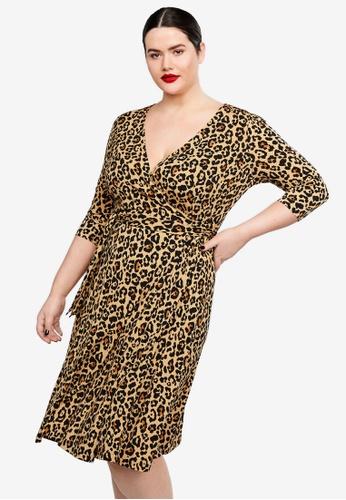 b0466fc6c8d1b1 Violeta by MANGO brown Plus Size Leopard Print Wrap Dress C4B55AA7C07951GS_1