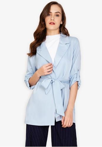 ZALORA WORK blue Self Tie Blazer F6F4DAA74AA89EGS_1