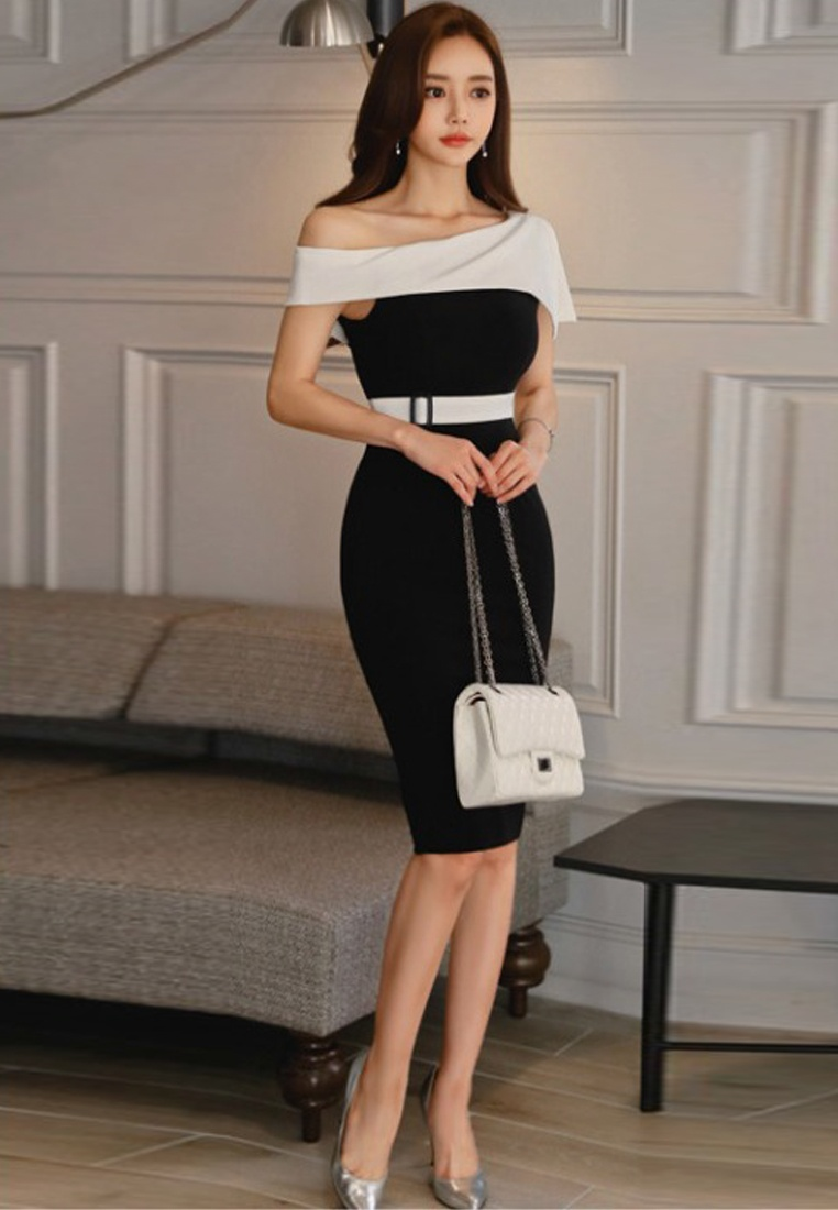 Dress Black New Off Piece Shoulder One Waist 2018 Repair A060424 Style Sheath Sunnydaysweety A7dxT
