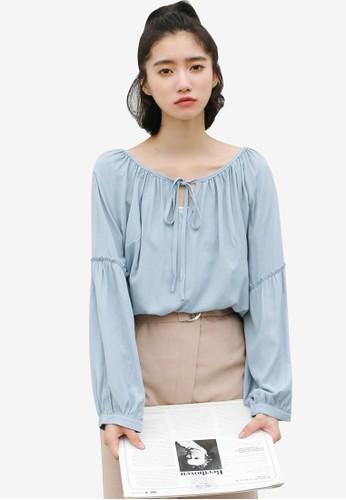 Shopsfashion blue Tie Up Collar Blouse CBD3DAA91F6863GS_1