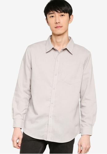 ZALORA BASICS grey Contrast Stitch Regular Fit Shirt E1C41AA3B22856GS_1