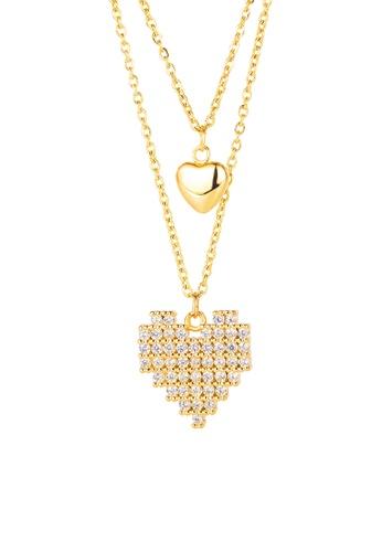 CELOVIS gold CELOVIS - Virtual Pixelated Love Pendant Necklace in Gold D0A26ACAF6069CGS_1