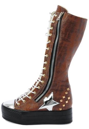 Maxstar C50 568 Inside Fur Synthetic Leather Studed Black Plarform Long Boots US Women Size MA168SH34DJPHK_1