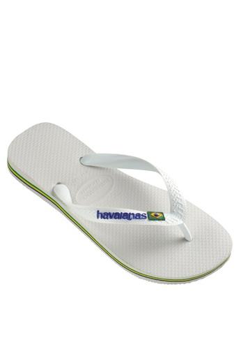 Havaianas white Brasil Logo Flip Flops E4B4FSHEC5C8CCGS_1
