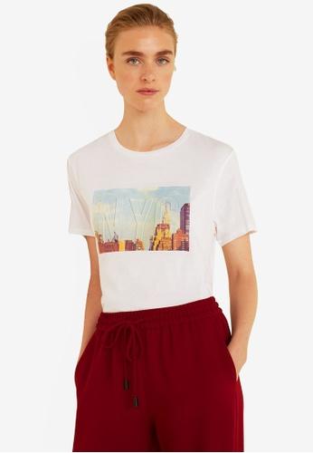 Mango white Textured Message T-Shirt 8815BAACFDF61BGS_1