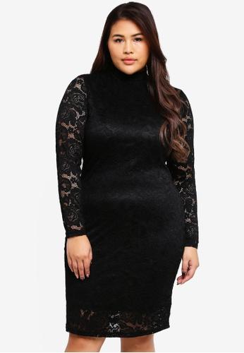 Only CARMAKOMA black Vendall Long Sleeve Dress 50B52AA29ACF4DGS_1