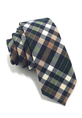 Splice Cufflinks Grids Series Green, Blue, White & Brown Skinny Cotton Tie SP744AC90QMFSG_1