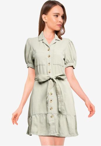 Miss Selfridge green Green Utility Tiered Shirt Dress DC58AAAB477B14GS_1