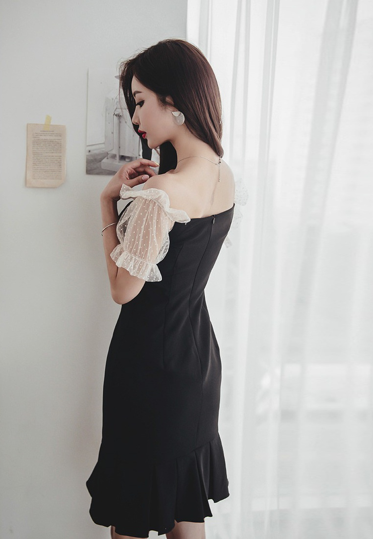 A060429 New One Fishtail Sunnydaysweety Shoulder Off 2018 Dress Black Black Piece fgxdqf8H