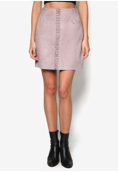 Stitch Front Faux Suede Mini Skirt