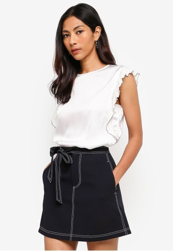 Hopeshow white Sleeveless Blouse With Frills 58248AA10BD78AGS_1
