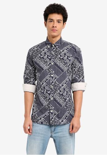 MANGO Man blue Slim-Fit Paisley Print Shirt D4561AACCA7F72GS_1