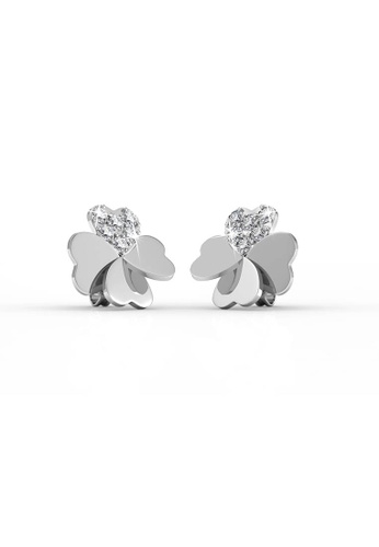 Her Jewellery silver Lucky Clover Earrings - Licensed Genuine Crystals from Swarovski® HE581AC0RDH1MY_1