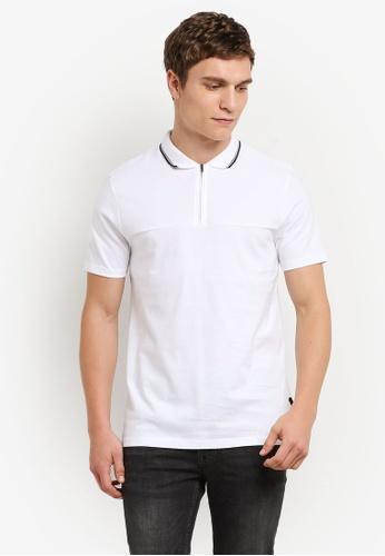 Burton Menswear London white White Zip Neck Polo Shirt BU964AA0S5MTMY_1