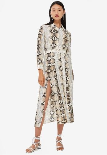 TOPSHOP brown Snake Print Pleated Shirt Dress 1DAEEAA538F72CGS_1