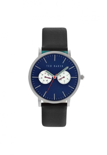 TED BAKER black Ted Baker Classic Silver/Black Leather Strap Watch TE856AC68NRBSG_1