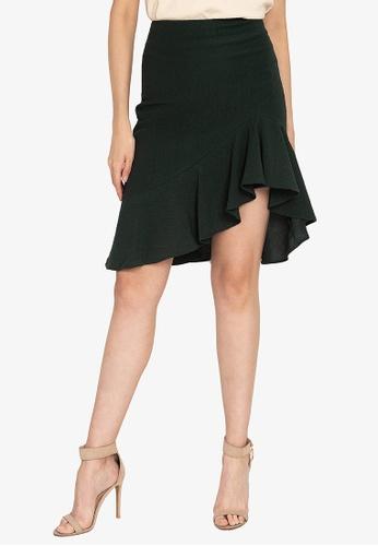 ZALORA OCCASION green Textured Asymmetrical Hem Mermaid Skirt 3CD48AA93505A1GS_1