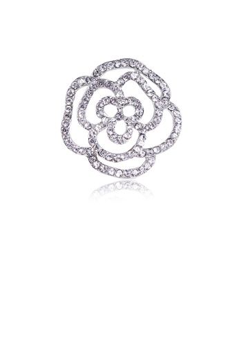Glamorousky white Fashion Simple Hollow Flower Brooch with Cubic Zirconia 12B05AC3E8D53DGS_1