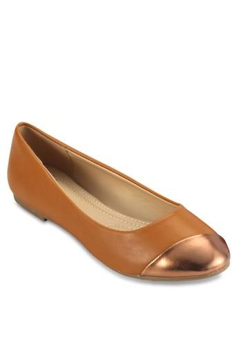 Plisseesprit macaue 金屬感鞋頭拼接平底鞋, 女鞋, 鞋