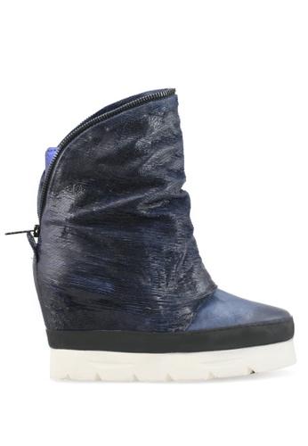 Shu Talk 藍色 拉鏈牛皮內增高短靴 SH544SH0A83HTW_1