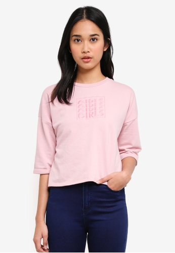 Penshoppe pink Boxy Tee With Embroidery 9A06BAA3046250GS_1
