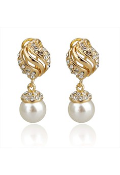 Ethnic Pearl Pierced Earrings by ZUMQA