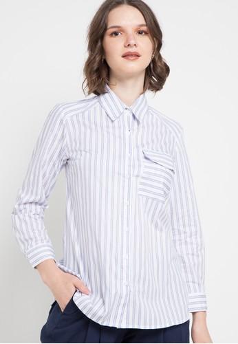 Le'Rosetz blue and multi Contrast Buttoned Stripes Blouse D2C5BAACE57B0FGS_1