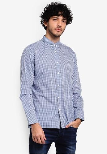 ZALORA blue and multi Button Down Formal Checks Long Sleeve Shirt C79EAAAEE3C026GS_1