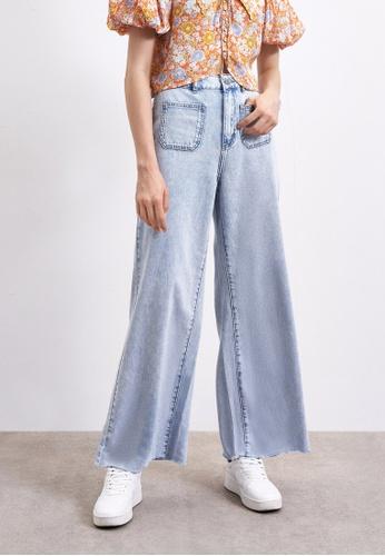 Urban Revivo blue High Waist Wide Leg Denim Jeans C9987AAF9DDD1AGS_1