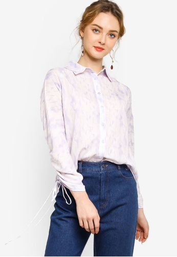 Lubna purple Shirt With Drawstring Detail 1AE3EAACF25D43GS_1