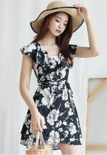 Shopsfashion black Faux Wrapped Mini Dress  33BDCAA24EF7C7GS_1