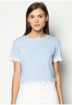 Cotton Top with Hem and Cuff Detail