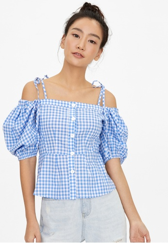 Pomelo blue Off Shoulder Puffed Sleeve Gingham Blouse - Blue 54AE5AAC24A57CGS_1