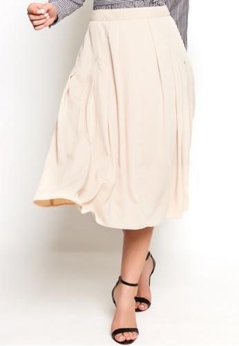 Nichii beige Pleated A-line Midi Skirt 35DDEAAB945C44GS_1