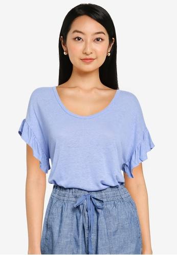 GAP blue Ruffle Short Sleeve Linen Tee 83E40AA613322AGS_1