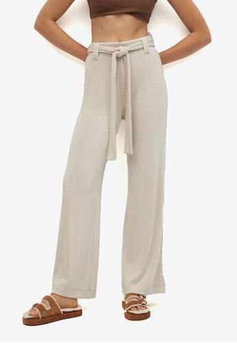 Mango grey Belt Straight-Fit Trousers 2BCF6AA708D885GS_1