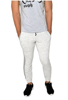 OWPH Men's Jogger Pants Cotton Stripes Knitted (Light Grey) 2