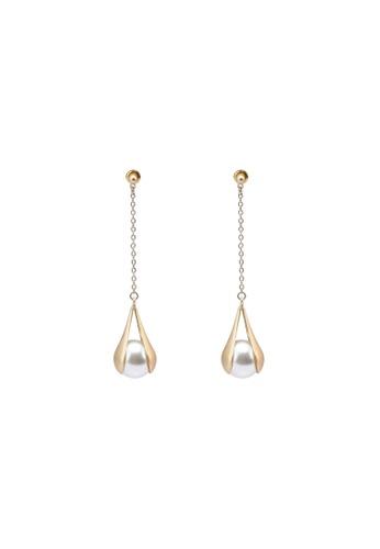 Saturation gold Pearl Tear Drop Earrings D2EDFACF524209GS_1