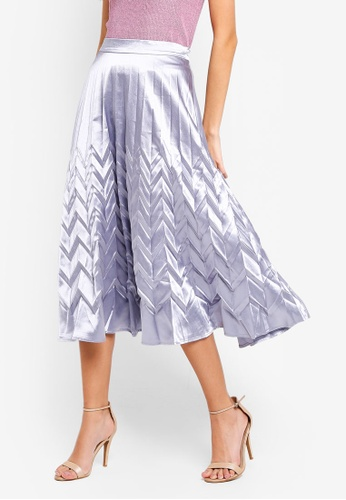 Angeleye silver Metallic Midi Skirt 6588EAA2BDBBC9GS_1